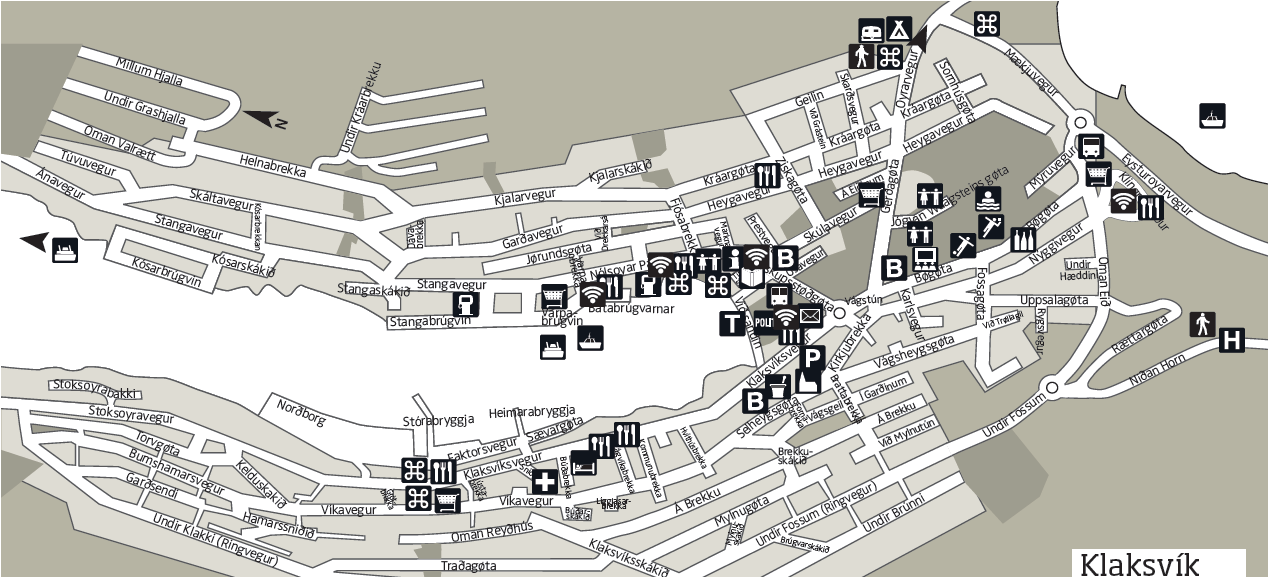 Map of the Faroese cities and villages   62°N